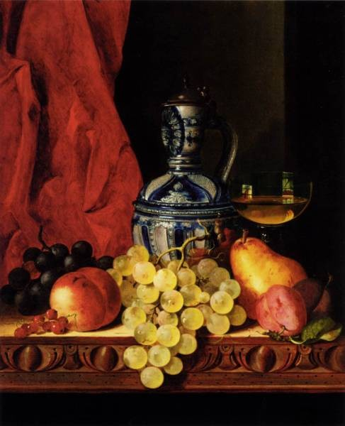 Still Life With Grapes A Peach Plums And A Pear On A Table With A Wine Glass And A Flask